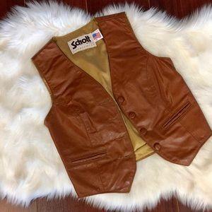 Vintage Leather Vest Cognac/Brown Size Small